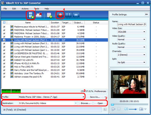 Xilisoft FLV to 3GP Converter