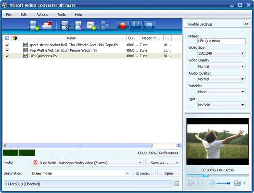 Convert videos to Zune, video converter, video to Zune converter